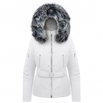 Poivre Blanc Belted Stretch Womens Ski Jacket in White