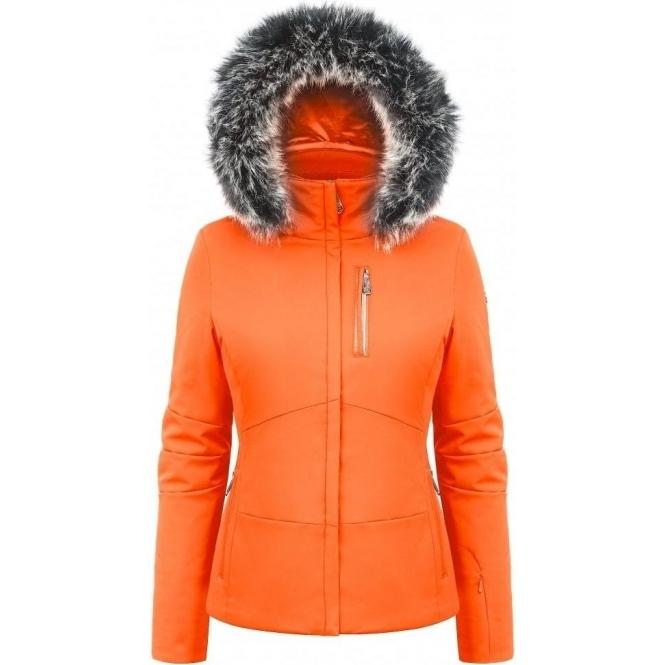 POIVRE BLANC Stretch Womens Ski Jacket in Fiesta Orange