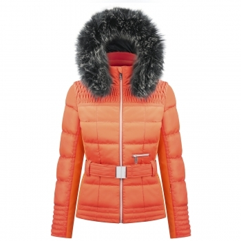 Poivre Blanc Belted Womens Ski Jacket in Fiesta Orange