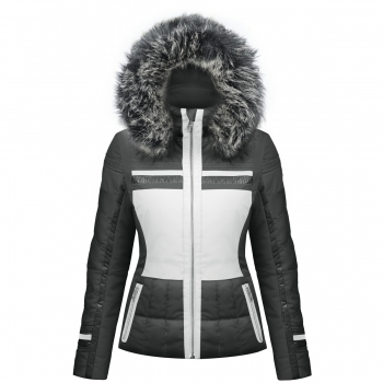 Poivre Blanc Quilted Womens Ski Jacket in Black and White