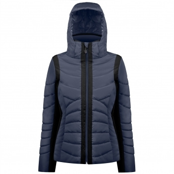 Poivre Blanc Quilted Womens Ski Jacket in Gothic Blue and Black