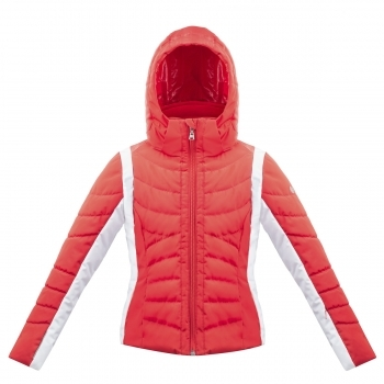 Poivre Blanc Junior Girls Quilted Ski Jacket in Scarlet Red