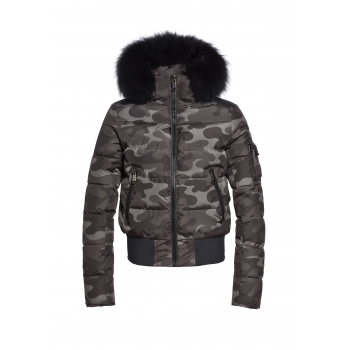 Goldbergh Chika Womens Ski Jacket With Fur Trim in Jungle