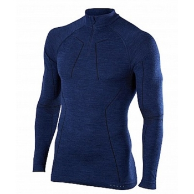 FALKE Mens Wool Tech Zip Shirt Regular Fit in Dark Night