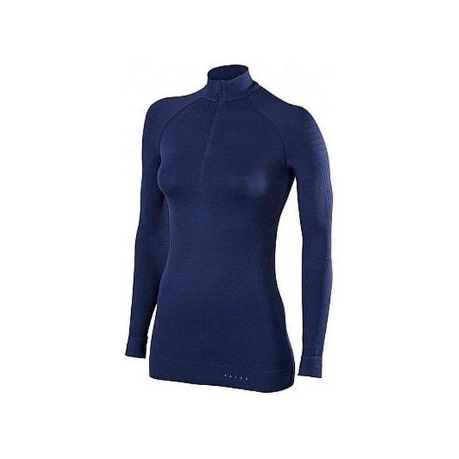 FALKE Womens Maximum Warm Zip Shirt Tight Fit in Dark Night