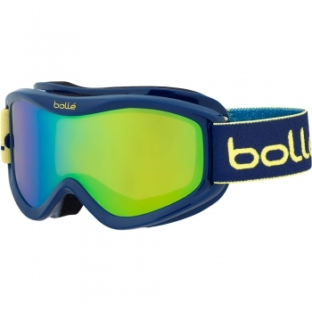 Bolle Volt Plus Kids Ski Goggles in Blue Blocks with Green Emerald Lens