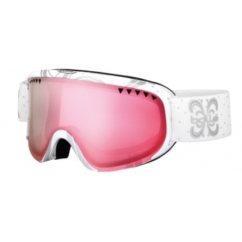 Bolle Scarlett Shiny White Night Womens Ski Goggle with Vermillion
