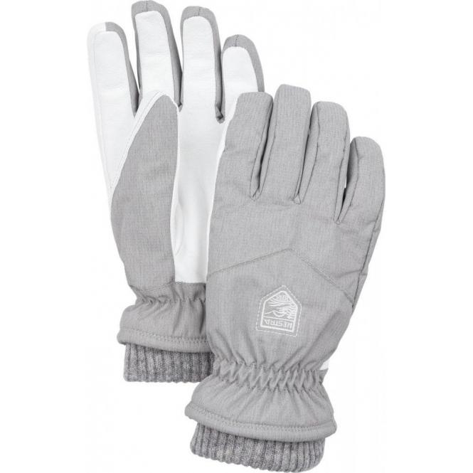 HESTRA SKI GLOVES Hestra Womens Rib Knit Ski Glove in Light Grey