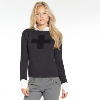 M. Miller M.Miller Suisse Cashmere Top in Charcoal and Black