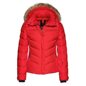 Bogner Sally 3 D Womens Ski Jacket in Red with Luxe Trim