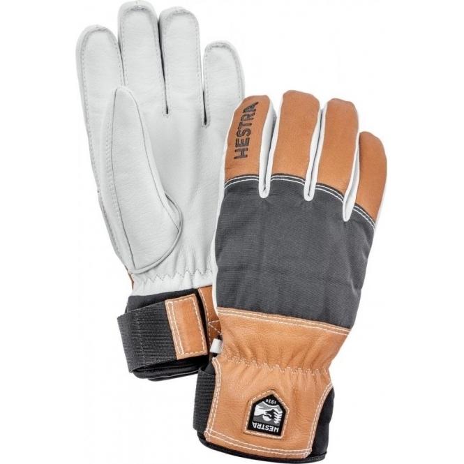 HESTRA SKI GLOVES Hestra Army Leather Abisko Mens Ski Glove in Grey and Brown
