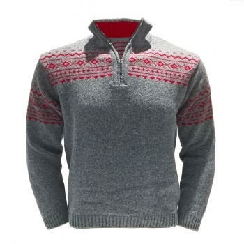 Steffner Island Z Mens 1/2 Zip Knitted Top in Grey Red