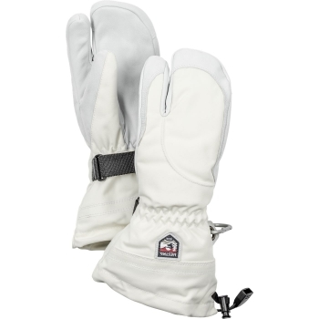 Hestra Ski Gloves Hestra Womens Army Leather Heli Ski 3 Finger Glove in Ivory