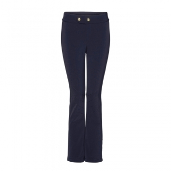 Bogner Emilia Long Leg Fitted Ski Pant With Gold Detail in Navy