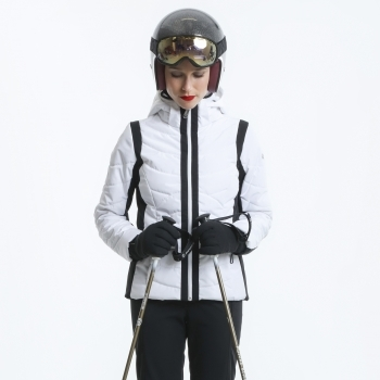 Poivre Blanc Quilted Womens Ski Jacket in White and Black