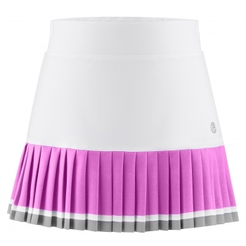 Poivre Blanc Girls Tennis Skirt in White and Sakura Pink