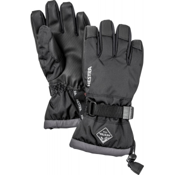 HESTRA SKI GLOVES Hestra Czone Gauntlet Jr Ski Glove in Black and Grey