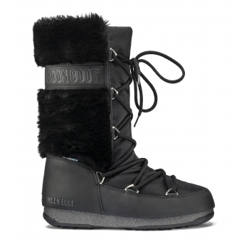 MOON BOOT Monaco Hi Fur Winter Boot in Black