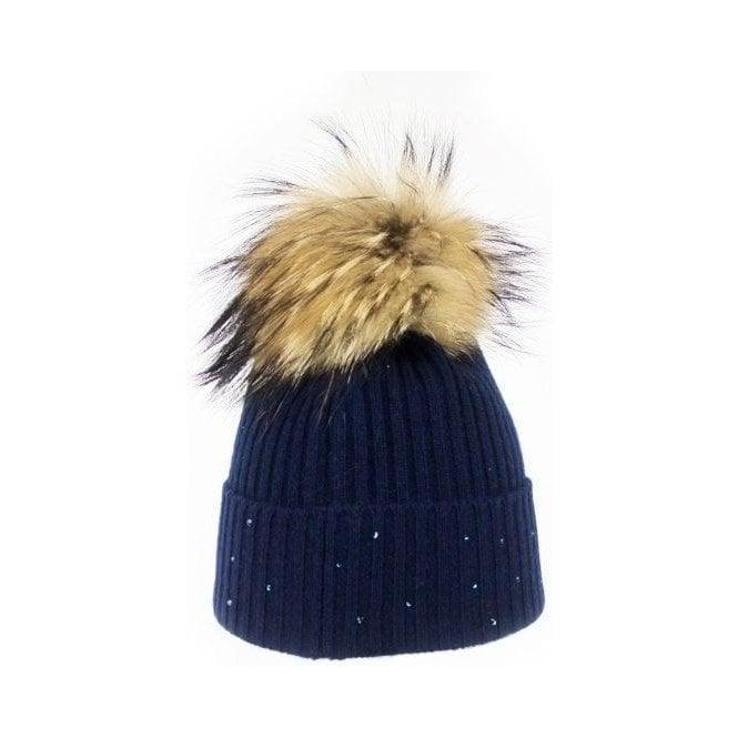 M MILLER Cashmere Rib Womens Ski Hat in Navy