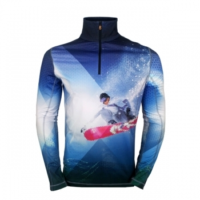 BOGNER Berto Mens First Layer Top in Snowboard Print