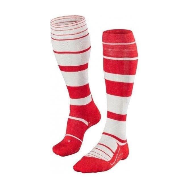 FALKE SK4 Stripe Mens Ski Socks in Scarlet
