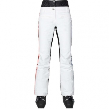 Rossignol Jcc Yurok Womens Ski Pant in White with Red Stripe