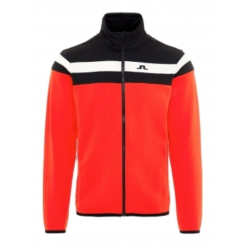 J.Lindeberg J Lindeberg Moffit Mid Jacket Tech Jersey M Midlayer in Racing Red