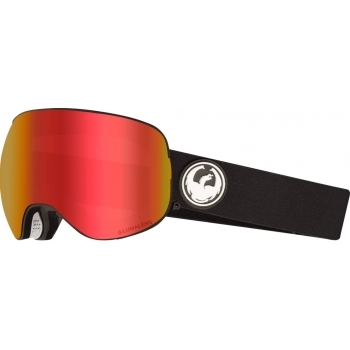 DRAGON GOGGLES Dragon X2 Black Ski Goggle with LumaLens Red Ion and LL Rose