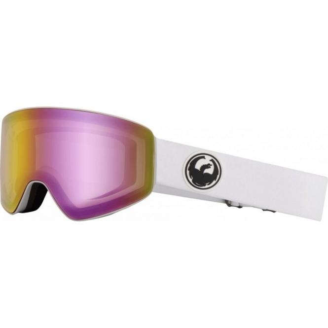 DRAGON GOGGLES Dragon PXV White Ski Goggle with LumaLens Pink Ion and Dark Smoke