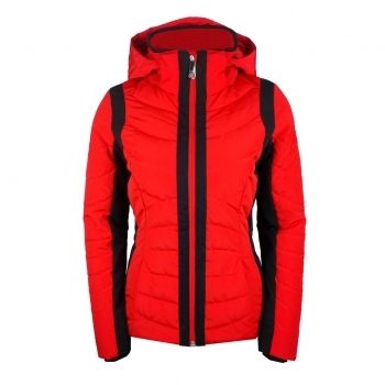 Poivre Blanc Quilted Womens Ski Jacket in Scarlet Red and Black