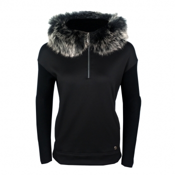 Poivre Blanc Adele Womens Hooded Fleece in Black
