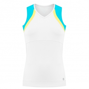 Poivre Blanc Womens Tennis Tank Top In White And Borabora Blue