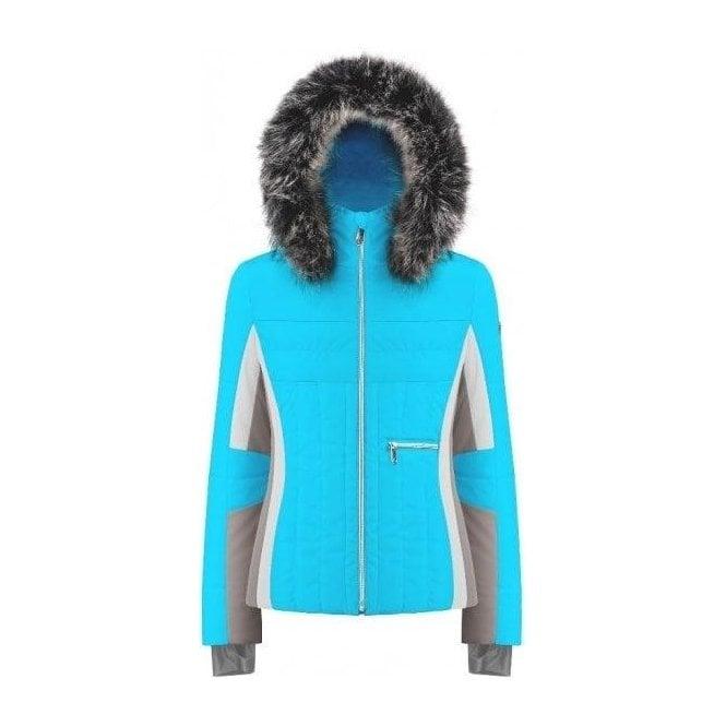 POIVRE BLANC Betsy Womens Jacket in Aqua Blue Multi