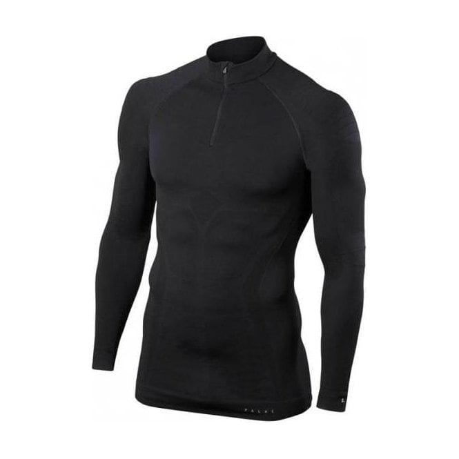 FALKE Mens Maximum Warm Zip Shirt Tight Fit in Black