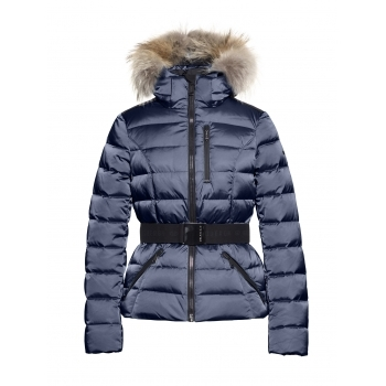Goldbergh Soldis Womens Jacket in Dark Navy - Saga Fur Trim