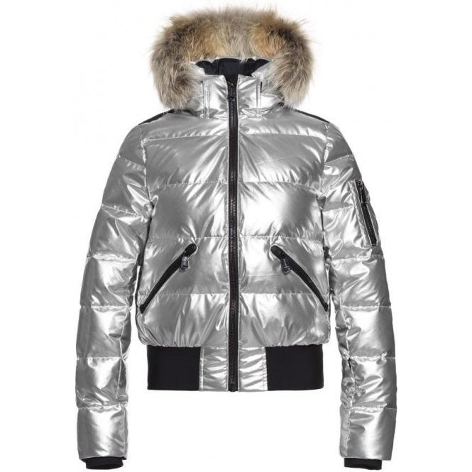 GOLDBERGH Aura Womens Ski Jacket in Silver - Saga Fur Trim