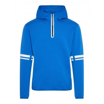 J.Lindeberg Logo Hood Tech Sweat Midlayer in Pop Blue