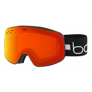 BOLLE Nevada Ski Goggle in Matte Black Line with Photochromic Fire Red