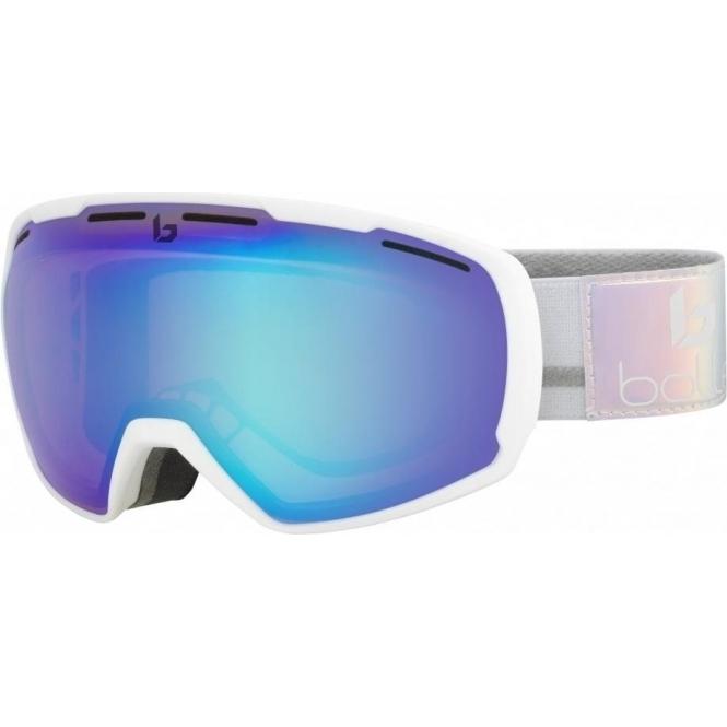 BOLLE Laika Ski Goggle in Matte White Polychome with Aurora Lens