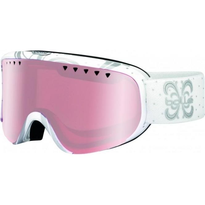 BOLLE Scarlett Ski Goggle in Shiny White Night with Vermillon Gun Lens