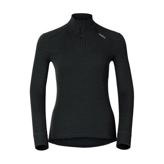 ODLO Active Warm Shirt L/S Zip Neck Womens Baselayer in Black