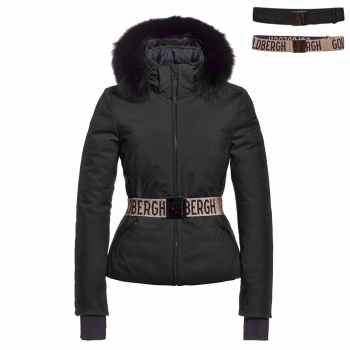 Goldbergh Hida Womens Jacket in Black - Saga Fur Trim
