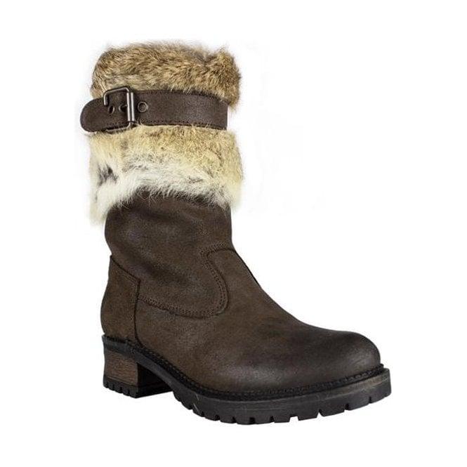 LA THUILE BOOTS La Thuile Orlando Buckle Womens Winter Boot in Brown