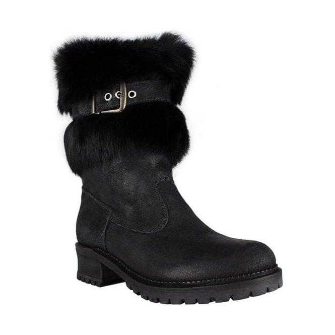 LA THUILE BOOTS La Thuile Orlando Buckle Womens Winter Boot in Black