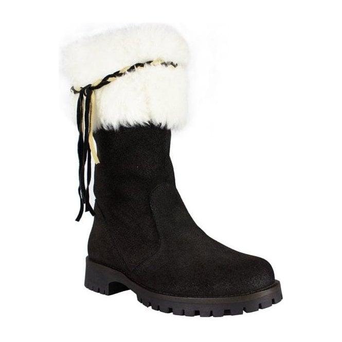 LA THUILE BOOTS La Thuile Orlando Womens Winter Boot in Black and Off White