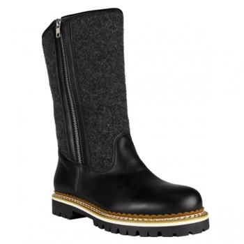 La Thuile Winter Boots La Thuile Lana Leather Womens Winter Boot in Black and Grey