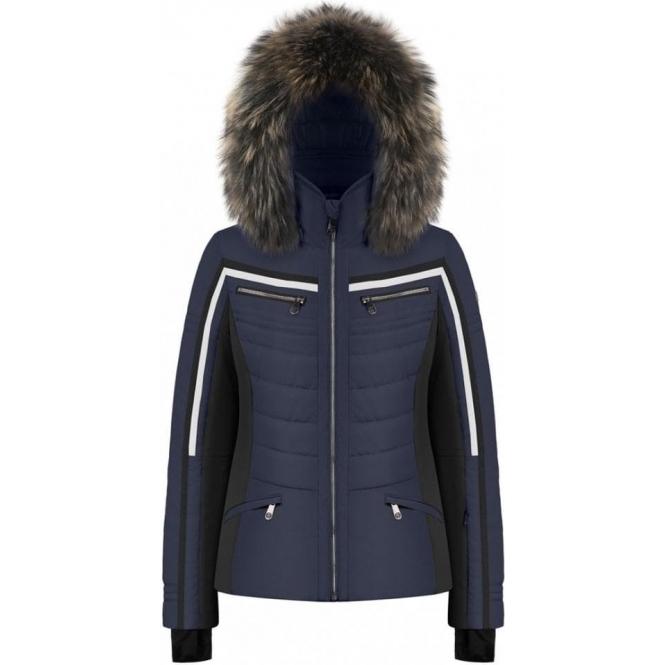POIVRE BLANC Celia Navy Ski Jacket Fur Trim
