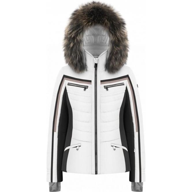 POIVRE BLANC Celia White Ski Jacket Fur Trim