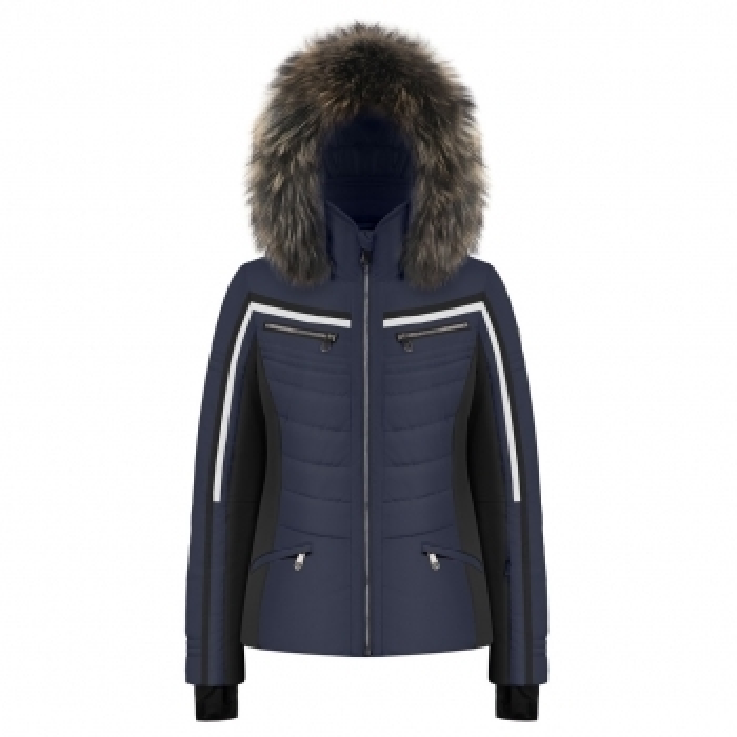 POIVRE BLANC Celia Navy Ski Jacket Faux Fur Trim