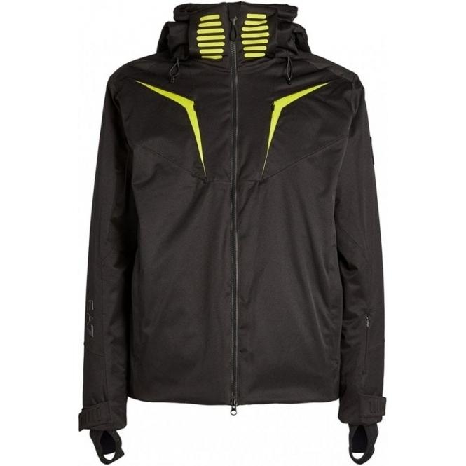ARMANI EA7 Mens Ski Jacket in Black and Lime